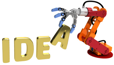 automation: Robot arm holding letter in Idea word for automation technology
