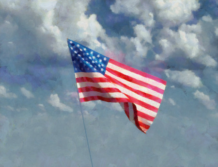 Artistic painting of USA American waving in the sky on a cloudscape