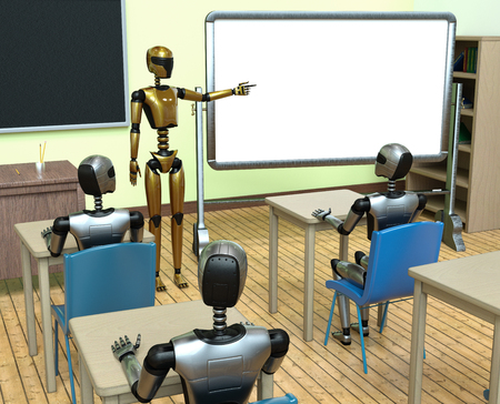 Robots machine learning data base automation in cyber technology classroom from robot teacher Reklamní fotografie