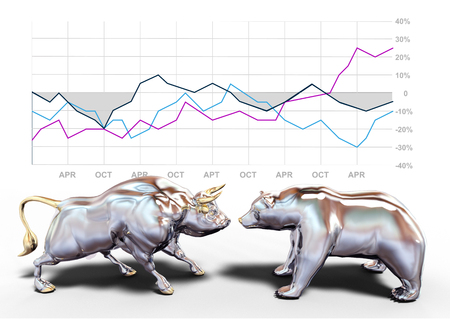 bull and bear stock market symbols in front of business investing chart  Banque d'images