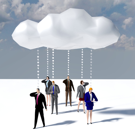 Business people communicate data cloud smartphone computer technology