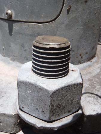 Close up of large bolt holding lamp post up Stok Fotoğraf