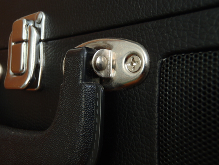 Close up of the handle and lock of a bag Stock fotó