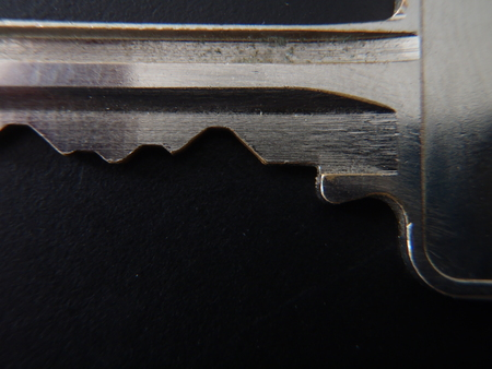 Close up of a silver key