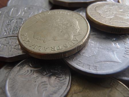 Close up of some Australian coins 版權商用圖片