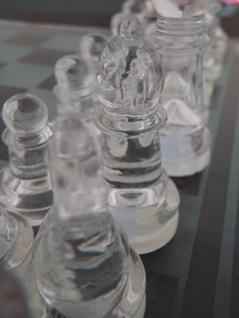 Close up of some glass chess pieces