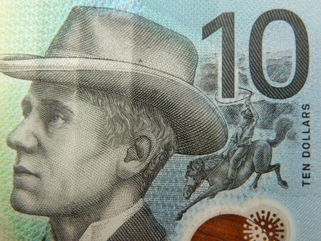 Close up of an Australian ten dollar note