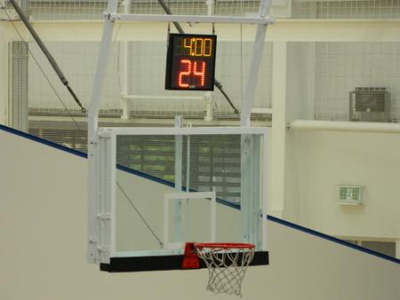 Baketball hoop, backboard and timer