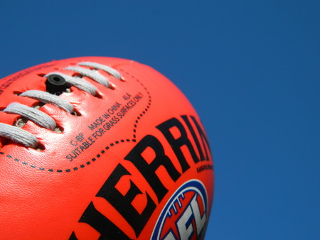 Close up of an Australian rules football
