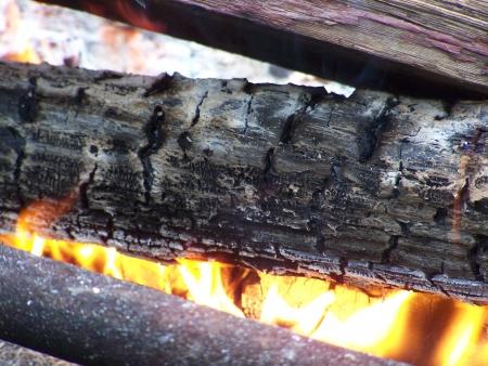 キャンプ火災のログ 写真素材