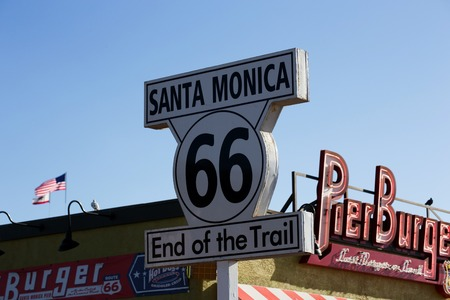 end of the trail: Route 66 End of the Trail sign on Santa Monica Pier, Santa Monica, California