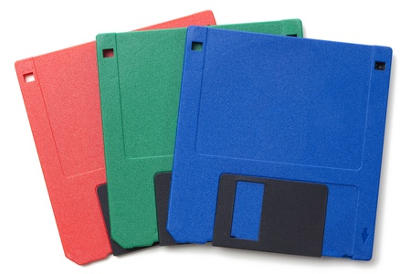 Set of floppy disks in 3.5 inch format with 1.44 MB capacity as commonly used in the late 80s/early 90s as storage medium for computer data.Studio shot, isolated on white background. Stock Photo - 17670005