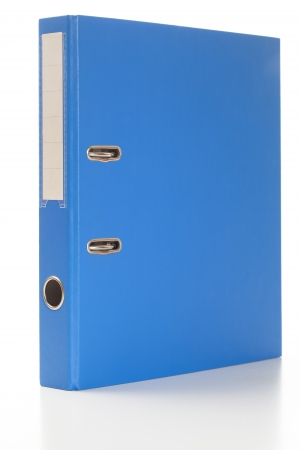 Ring binder in blue color, standing.  Studio shot, isolated on white.
