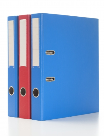 Set of binders in red and blue colors.