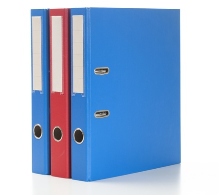 Set of binders in red and blue colors.Studio shot, isolated on white. Stock Photo - 17656048