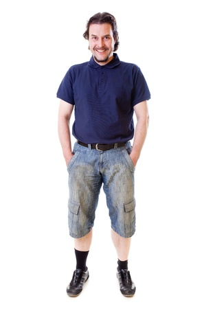 Full body shot of a mid-aged man smiling into the camera.Shot in studio on white background.. Stock Photo - 17656023