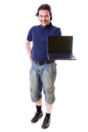 Mid-aged man smiling into the camera with his hand holding a netbook .