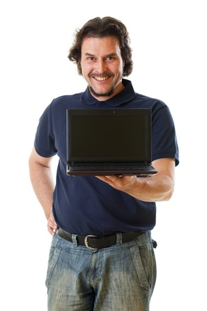 Mid-aged man smiling into the camera with his hand holding a netbook .Shot in studio on white background.. Stock Photo - 17669917