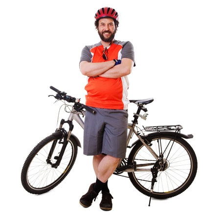 Mature guy with his mountain bike . Stock Photo