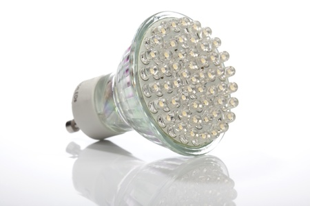 Spotlight replacement for classic halogen lamps with 54 LEDs emitting a bright but energy-saving light.