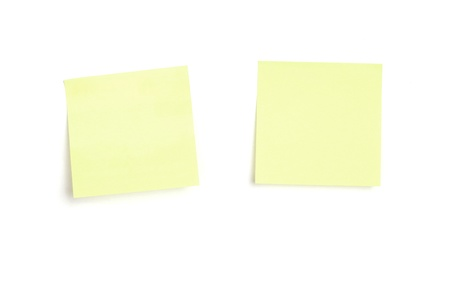 Two yellow post-it note papers with drop shadow, isolated on white photo