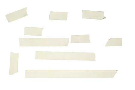 Different length of white adhesive tapes, isolated on white background