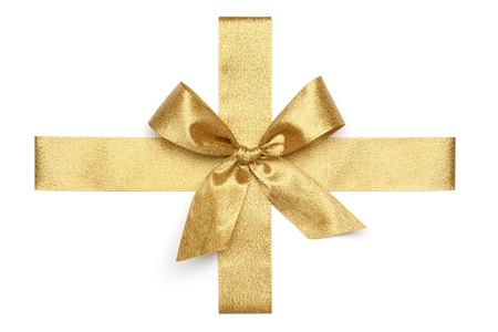 Golden Tie from present ribbon.  Isolated on white background. photo