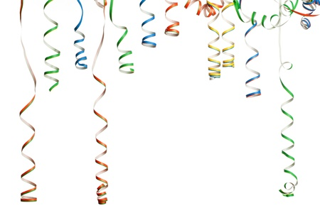 Bunch of party streamers hanging in the air.  Photographed in studio isolated on white background.