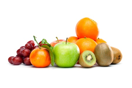 Bunch of different healthy fruits: Oranges, Kiwi, Apple, Grapes.  Isolated on white background. photo