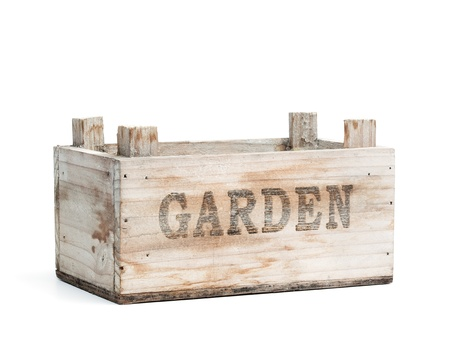 Empty garden crate made from wood, isolated on white background.