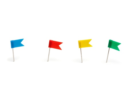Set of push pins, flag form in different colors, with real shadows, isolated on white background.