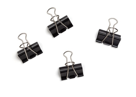 clamps: Set of paper clamps, isolated on white background. Stock Photo