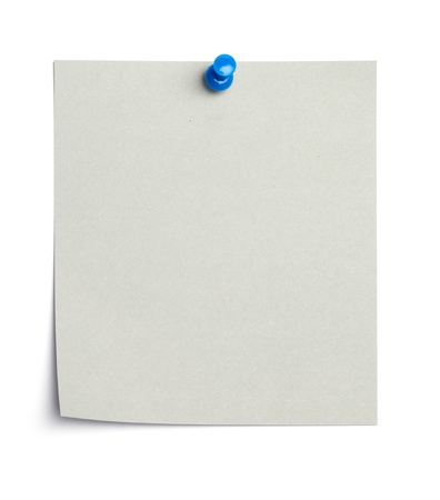 Single piece of paper, empty for copy space, pinned with a thumb tack. Isolated on white background.