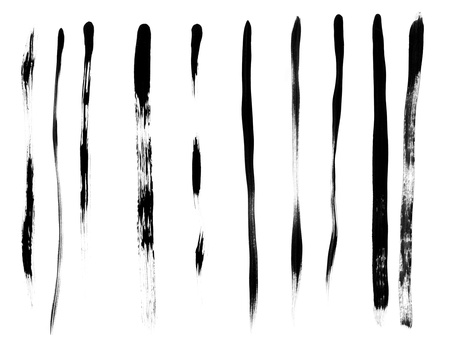 paint stroke: Set of different thin brush strokes with black paint. Isolated on white background.