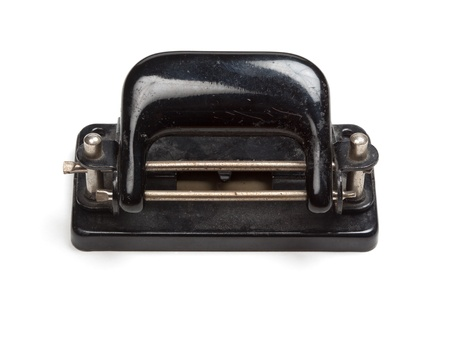 perforator: Black perforator in vintageretro style, isolated on white background.