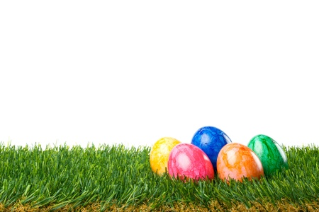 Color painted easter eggs in the grass. Isolated on white background.