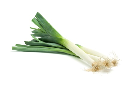 Isolated leek or field garlic on white background. Zdjęcie Seryjne
