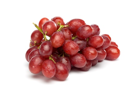 red grape: Bunch of red grapes , fresh with water drops. Isolated on white background.