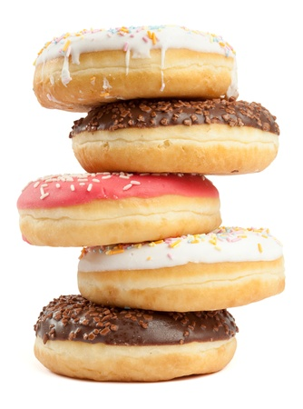 Group of assorted donuts with chocolate and sugar coatings and sprinkles  Isolated on white backgroudn
