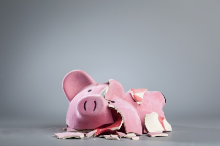 Broken piggy bank. photo