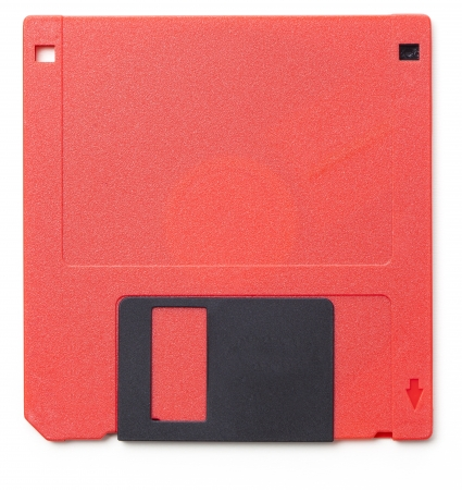 mb: Set of floppy disks in 3.5 inch format with 1.44 MB capacity as commonly used in the late 80searly 90s as storage medium for computer data.  Studio shot, isolated on white background.