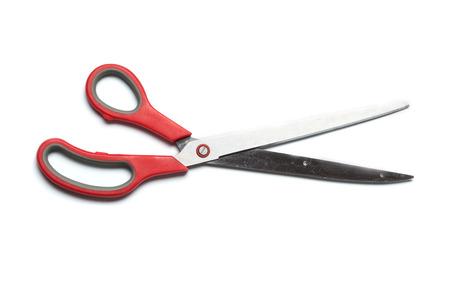 extra large: Extra large, oversized scissors with red grip  Studio shot, isolated on white background