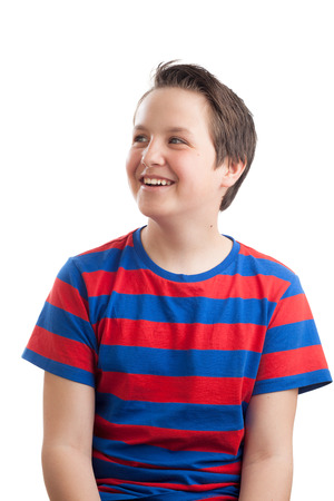 teenaged boy: Waist up portrait of a teenaged (13 years old) Caucasian boy, looking sideways, isolated on white background.