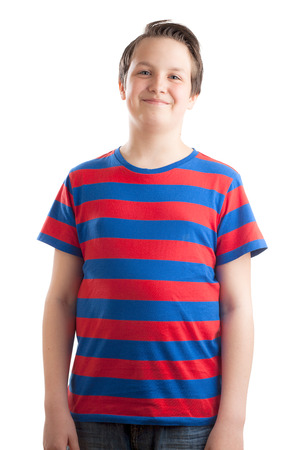 waist up: Waist up portrait of a teenaged (13 years old) Caucasian boy standing, isolated on white background.