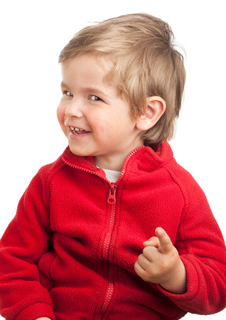 Portrait of a toddler (2 years old) with blond hair, pointing to the camera.  Isolated on white background. photo