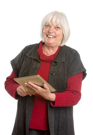 Senior Woman with Digital Tablet - Isolated on White Stock Photo