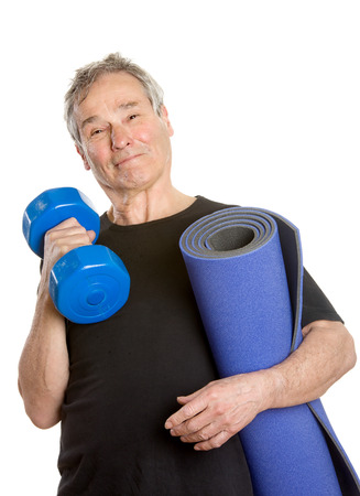 Sportive Senior Man - Posing with Dumbbell