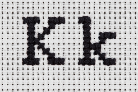 crafted: Alphabet, Letter and Icrons Cross-stitch hand crafted.