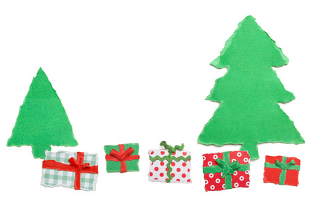 Row of Gifts and Christmas Trees, Paper Tear, Christmas Ornaments Stock Photo - 23797175