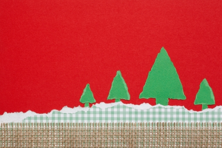 Green Trees on Checkered and Red Background, Paper Tear, Christmas Stock Photo - 23822456